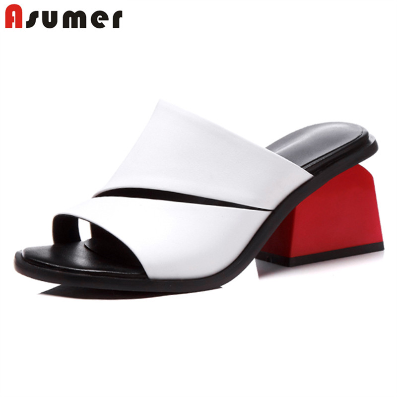 ASUMER Shoes Party Women Sandals Square High-Heels Eur-Size Genuine-Leather Woman Ladies