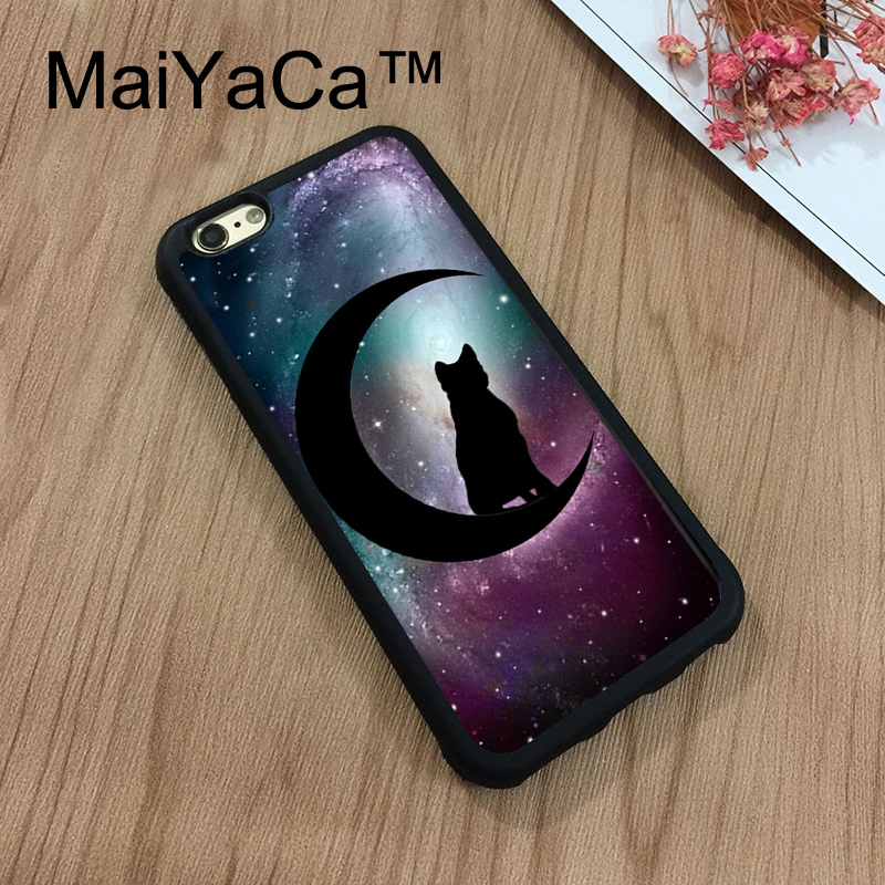 MaiYaCa Black Cat and Moon Stars Space Art Soft TPU Case For Apple iphone 7 Capa Coque Rubber Phone Case For iphone 7 Bag Cover