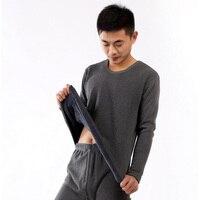 Hot Koop herfst winter mannen mode fluwelen warm houden t-shirt man casual innerlijke dragen lange mouw t-shirt