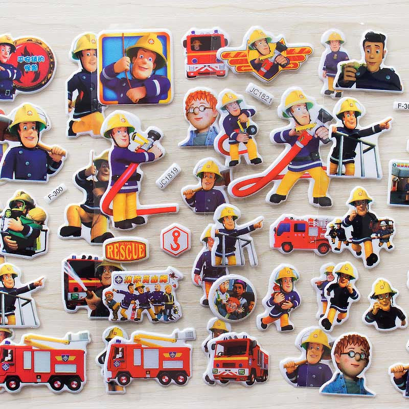 Wholesale 6pcs Cartoon Fireman Sam Stickers For Kids Education Rooms Home Decor Diary Notebook Label Toy 3D Fire Truck Sticker