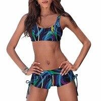 2017 New Arrival Women Bikini Set Push Up Padded Shorts Bandage Swimsuit Triangle Swimwear Mid Waist