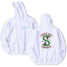 Harajuku Streetwear Riverdale Southside Serpents Jughead Schwarz sweatshirt Korean Stil Mode Top Oansatz Kurzarm