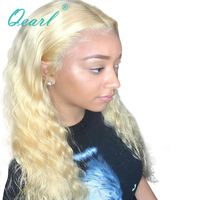 Qearl 613 Blonde Curly Lace Fron Wigs Virgin Chinese Human Hair Wig with Middle Part Pre Plucked natural hairline with baby hair