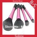 Soft Taklon hair High Quality 4 pieces pink makeup brush set powder blush blending eyeshadow make up brush kit with black handle