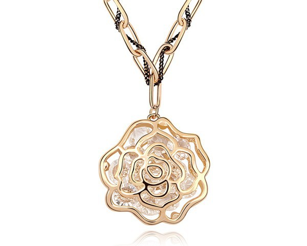 Austrian Crystal Rose Necklace Flower Bijoux Long Sweater Chain