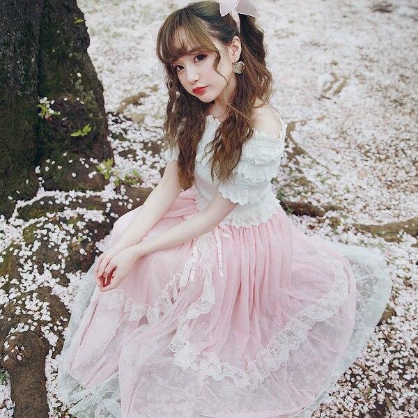 Princess sweet lolita skirt BOBON21 Starlight super heavy star long skirt sequins turned a small fairy