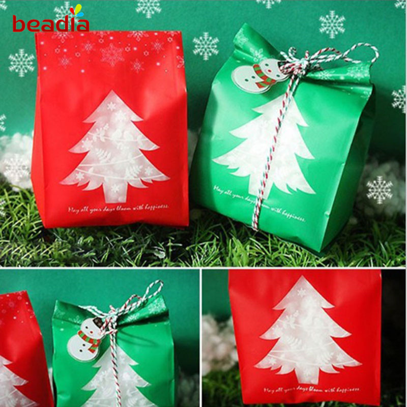 9.5*20cm Red & Green Color Christmas Tree Frosted Gift Bag ...