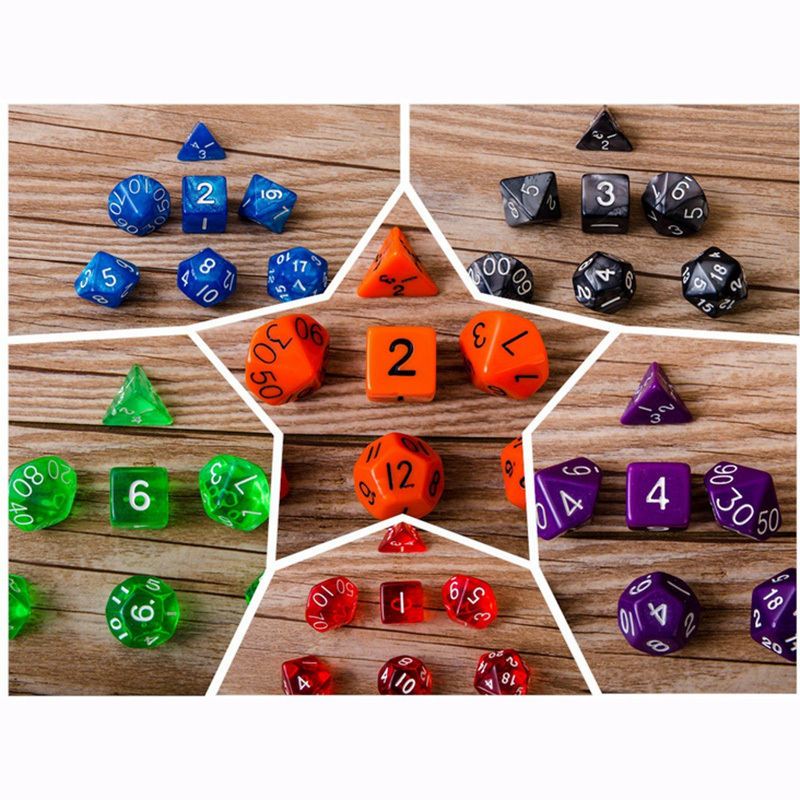 20 Kinds Option Polyhedral Dice 7 PCS/LOT High Quality Digital Dice With Pearlized Effect Dice Set