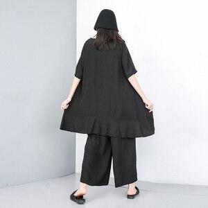 Image 4 - Женский костюм из двух предметов EAM, черный свободный костюм с V образным вырезом, коротким рукавом и широкими штанинами, большие размеры, весна осень 2020