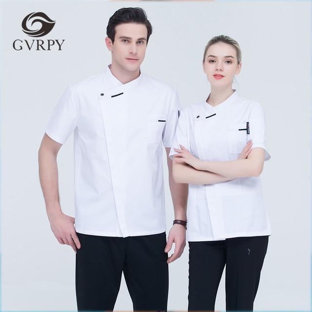 eeafd28b41d 5 colores de alta calidad Unisex chaqueta de Chef de manga corta oblicua  Collar cocina Catering
