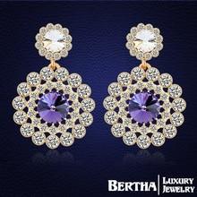 Bohemian Drop Earrings Made with Swarovski Elements crystals Gold Earrings Fine Jewelry Women Brincos Bijoux Top