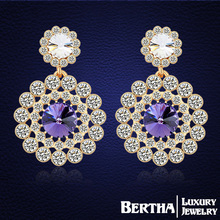 Bohemian Drop Earrings Made with Swarovski Elements crystals Gold Earrings Fine Jewelry Women Brincos Bijoux Top Quality
