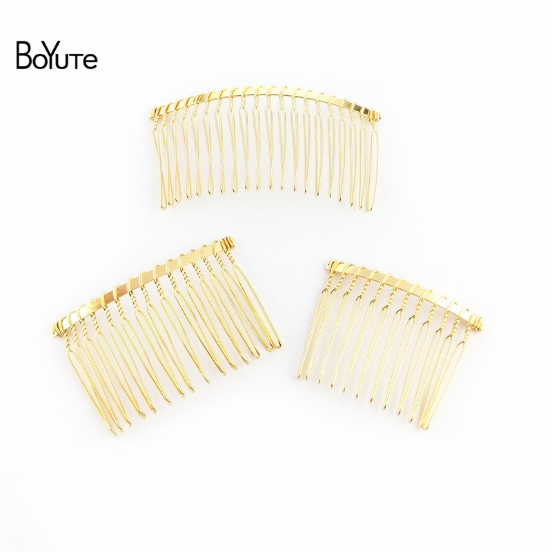 BoYuTe 10Pcs Vintage Hand Made Diy Wire Comb Metal Hair Comb Base 6 Colors Plated Women's Diy Hair Jewelry Accessories (3)