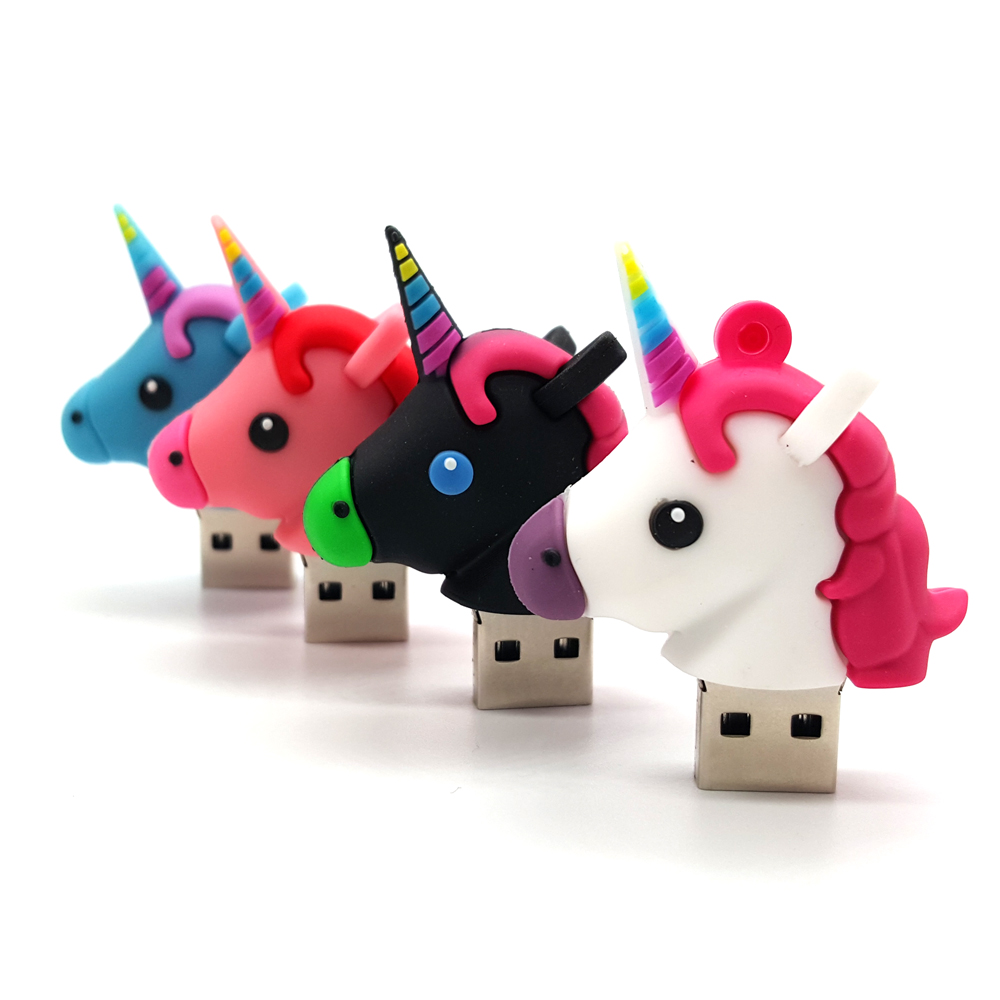 USB 2.0 Cartoon USB Flash Drives White Unicorn Minions Pen