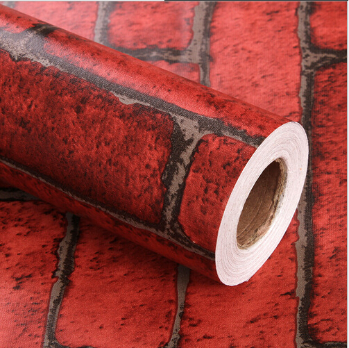Imitation Brick Red Wallpaper Living Room Sticky Adhesive Stickers Printed Pvc Green Water