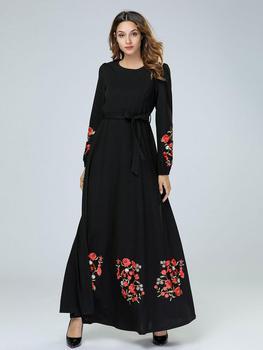 أسود vestidos قفطان عباية دبي العربية الحجاب مسلم اللباس ملابس النساء elbise التركية الإسلامية رداء musulmane ونغ فساتين 2
