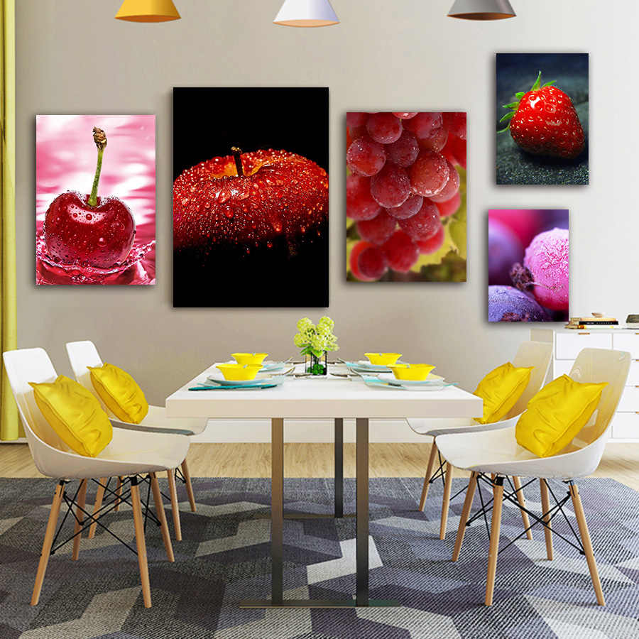 Kitchen Fruits Canvas Picture Pop Art Prints Apple Orange Strawberry Wall  Art Poster Modern Kitchen Wall Painting Art Decoration