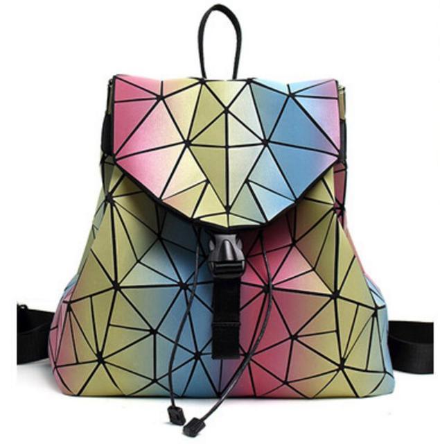 3754193c03c5 Women Laser Luminous Backpack Mini Geometric Shoulder Bag Folding Student School  Bags For Teenage Girl Hologram Bao Backpack