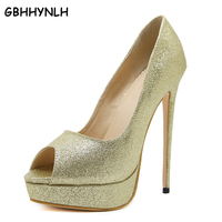 GBHHYNLH glitter schoenen pompen 2018 Peep Toe hoge hakken goud zilveren bruiloft schoenen Hoge Hakken Dunne Hakken OL Elegante Schoenen LJA143