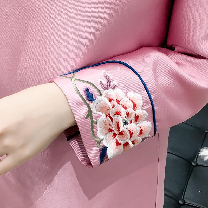 Vendimia Tops Satén Alta Otoño Floral Rosado Calidad Señora Mejorado Diario Blusa Elegante Estilo Chino Bordado Top 1Eq6U6