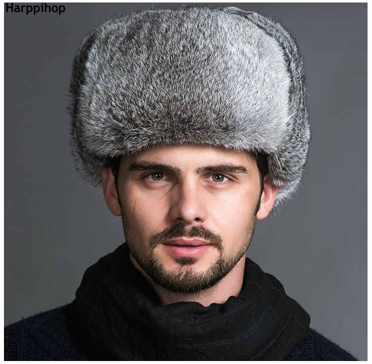 4b636fd690e9 ... High Quality Mens 100% Real Rabbit Fur Winter Hats Lei Feng hat With  Ear Flaps