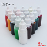 KiWarm Hot Sale 15pcs15ml Crystal Epoxy Resin Pigment UV Resin Coloring Dye Colorant Pigment For DIY