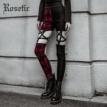 Rosetic Pentagram Women Black Pants Gothic Cool Slim Thin High Waist Zipper Plaid Color Red Hollow Punk Style Pencil