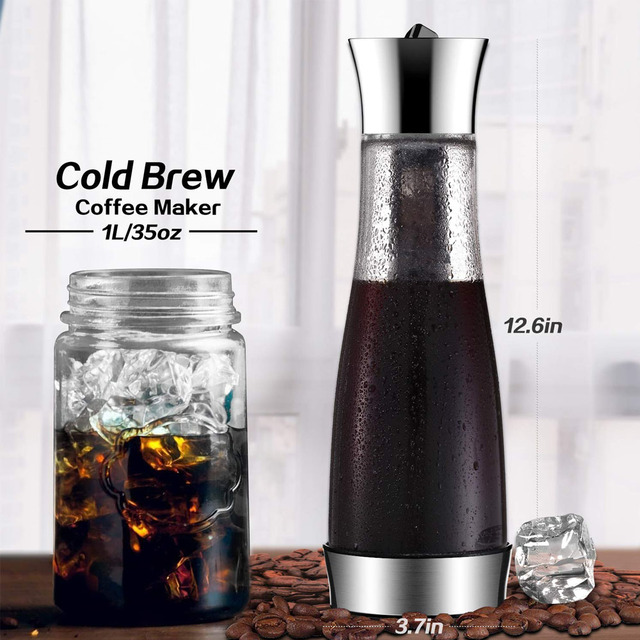 Coffee Maker Pot Mocha Cold Brew Cafetera Filter Coffee Pot Leakproof Thick Glass Tea Infuser Percolator Tool Espresso Maker 6