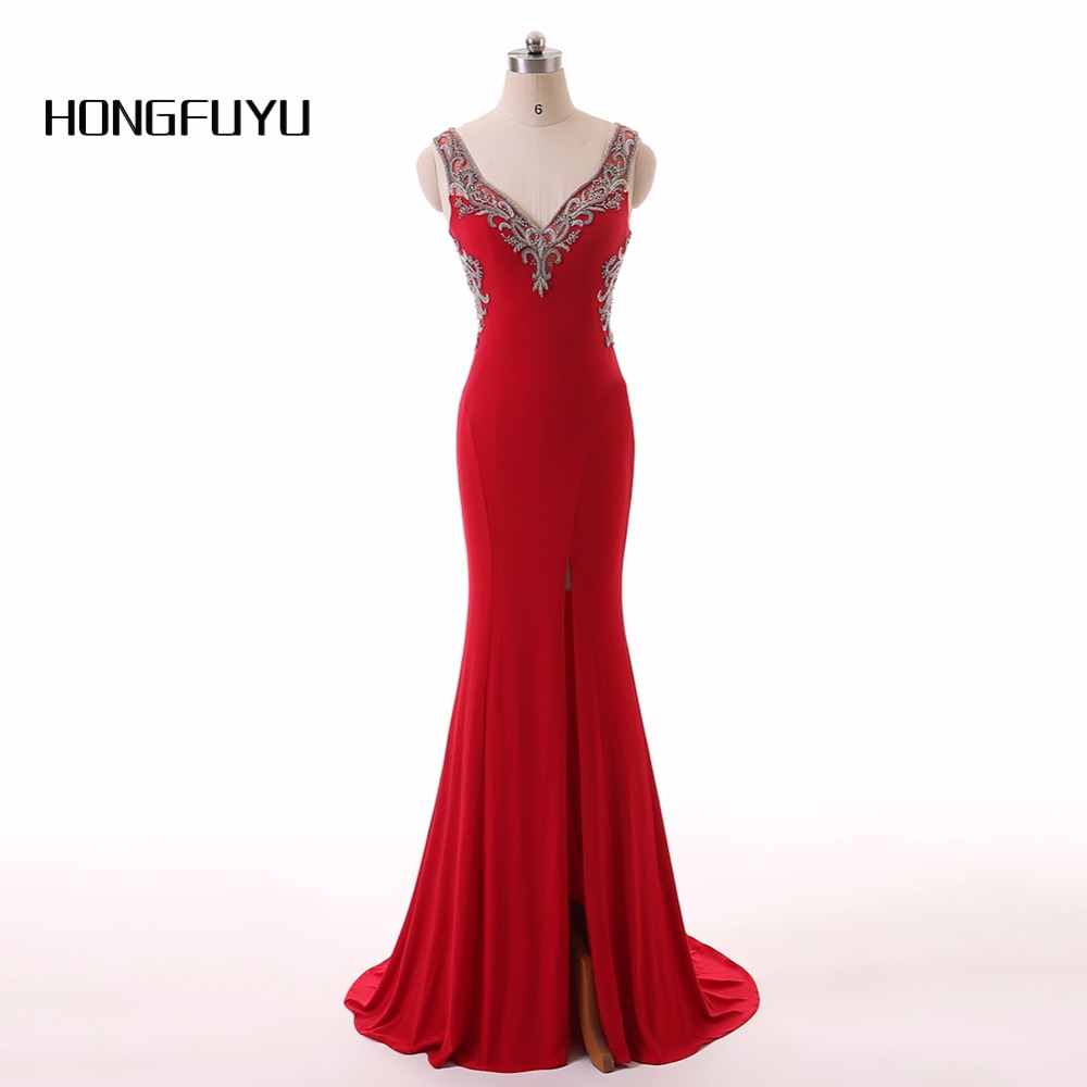 Long Mermaid   Evening     Dress   Chiffon Beading V Neck Sleeveless   Evening     Dresses   vestido de festa Floor Length Formal Party Gowns