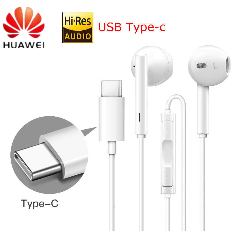 HUAWEI Original CM33 Earphone USB Type-C In Ear Hearphone Headset Mic Volume HUAWEI Mate 10Pro 20 X RS P20 30 Note 10