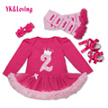 Autumn Winter Baby Girls Clothing Kids Rose Red Long Sleeve Tutu Dress Ruffle Sets Cake  Newborn 1 Birthday Next Dresses 2017