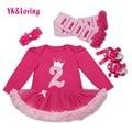 Otoño Invierno Ropa de Bebé Niñas Niños Rosa Roja de Manga Larga tutu dress conjuntos volantes pastel recién nacido 1 next vestidos de cumpleaños 2017