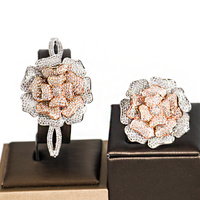LAN PALACE indian wedding jewelry cubic zirconia bridal jewelry set big flowers bracelets bangle and ring set free shipping