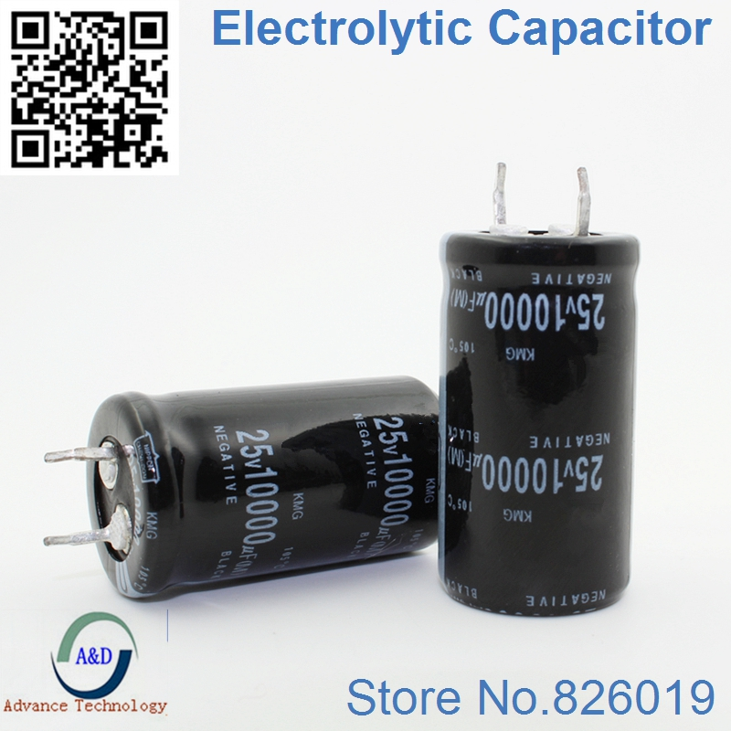 6pcs/lot 25V 10000UF Radial DIP Aluminum Electrolytic Capacitors Size 22*40 10000UF 25V Tolerance 20%