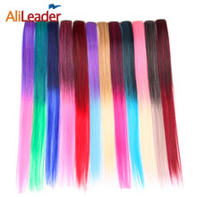 AliLeader 12 Colors/Lot Ombre Clip In Hair Extensions Long Straight Blonde Pink Red Blue Green Colored Synthetic Hair Clip Ins(China)