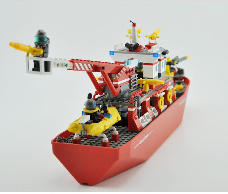 Model Building Kits Compatible With Lego City Boat 598 3d Blocks