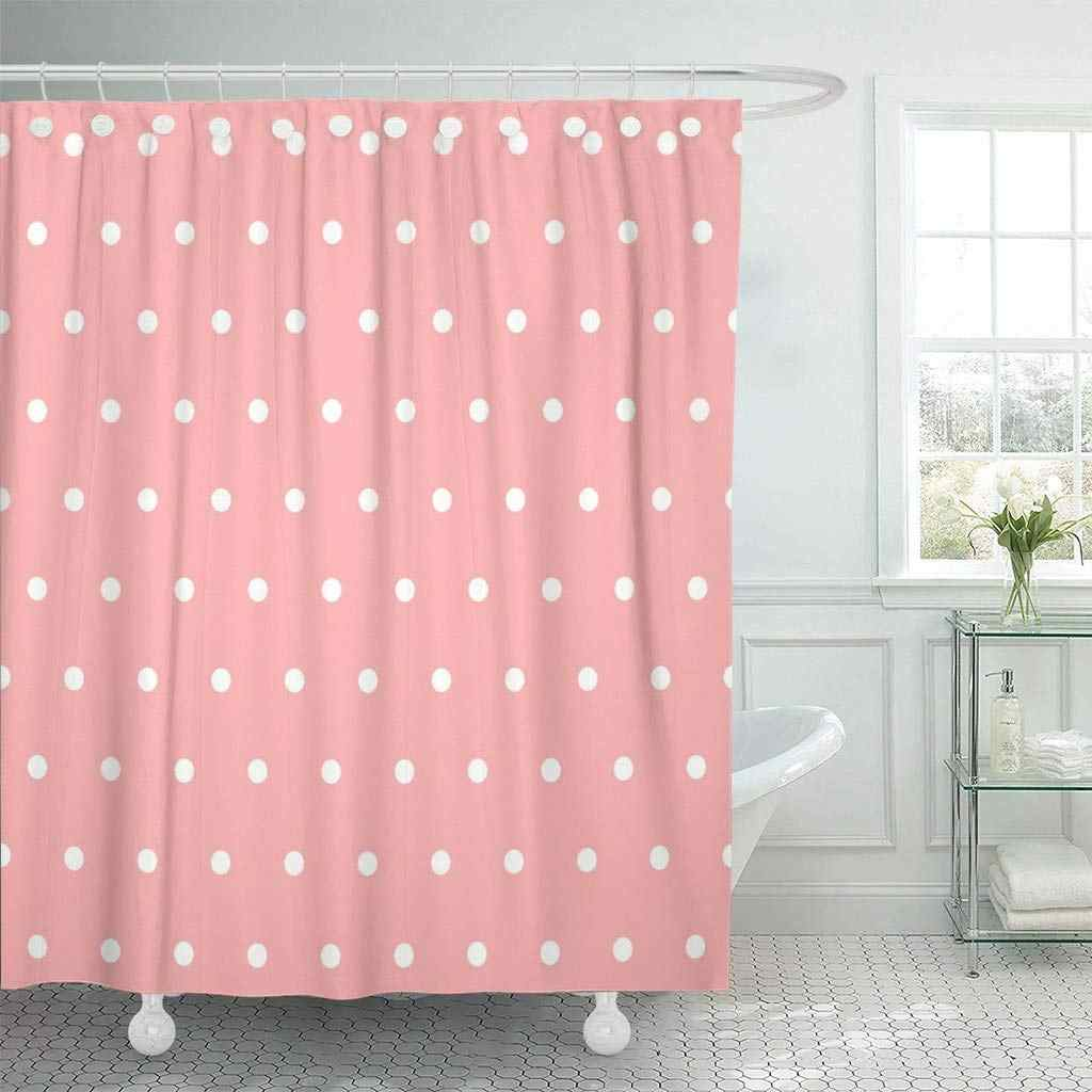 Shower Curtain with Hooks White Polka Dot Pink Abstract Baby Circle Classic Color Girl Love Decorative Bathroom
