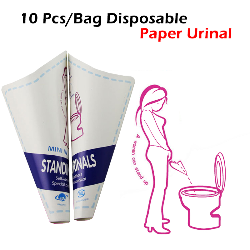 10 Pcs/Bag Disposable Paper Urinal Woman Urination Device Portable Outdoor Toilet Tool Stand Up Pee For Camping Travel Car