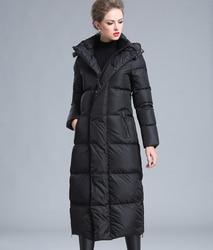 2019 Зимний новый стиль большой размер 4XL черный красный серый темно-синий женский толстый теплый большой размер длинный пуховик