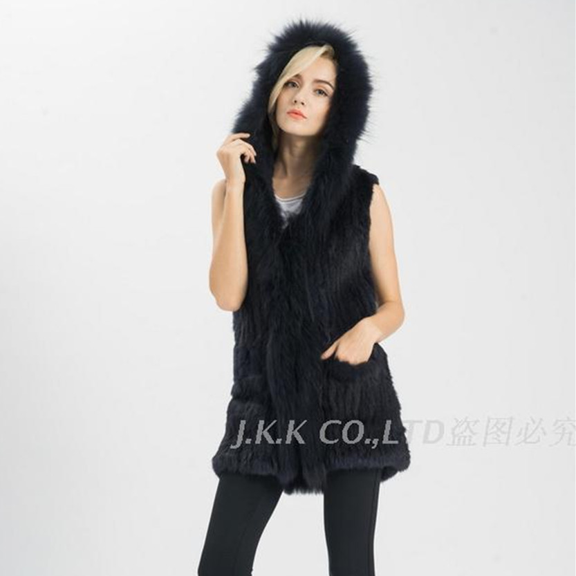 2016 Lady Real fur vest Women Genuine Rabbit fur knitted gilet raccoon collar hooded pocket winter