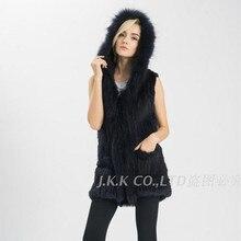 Jancoco Max 2017 Real Rabbit Fur Vest Hooded Raccoon Fur Collar Women Winter Warm Long Gilet