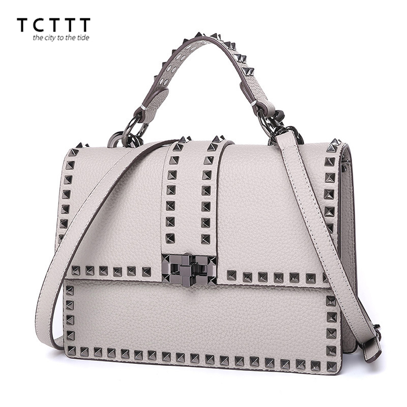 TCTTT High Quality Genuine Leather Women's shoulder bags Rivet style Crossbody Bag luxury designer Messenger Handbags for ladies tcttt luxury handbags women bags designer fashion women s leather shoulder bag high quality rivet brand crossbody messenger bag