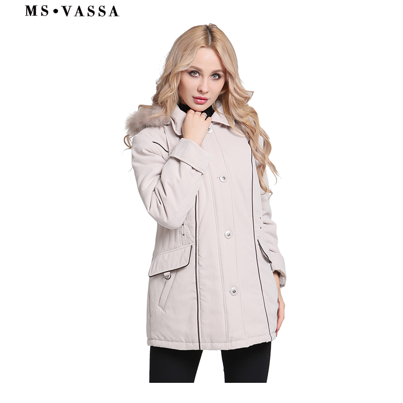 MS VASSA Jackets Women 2019 New Winter Spring Coats Plus size 5XL 6XL detachable hood fake
