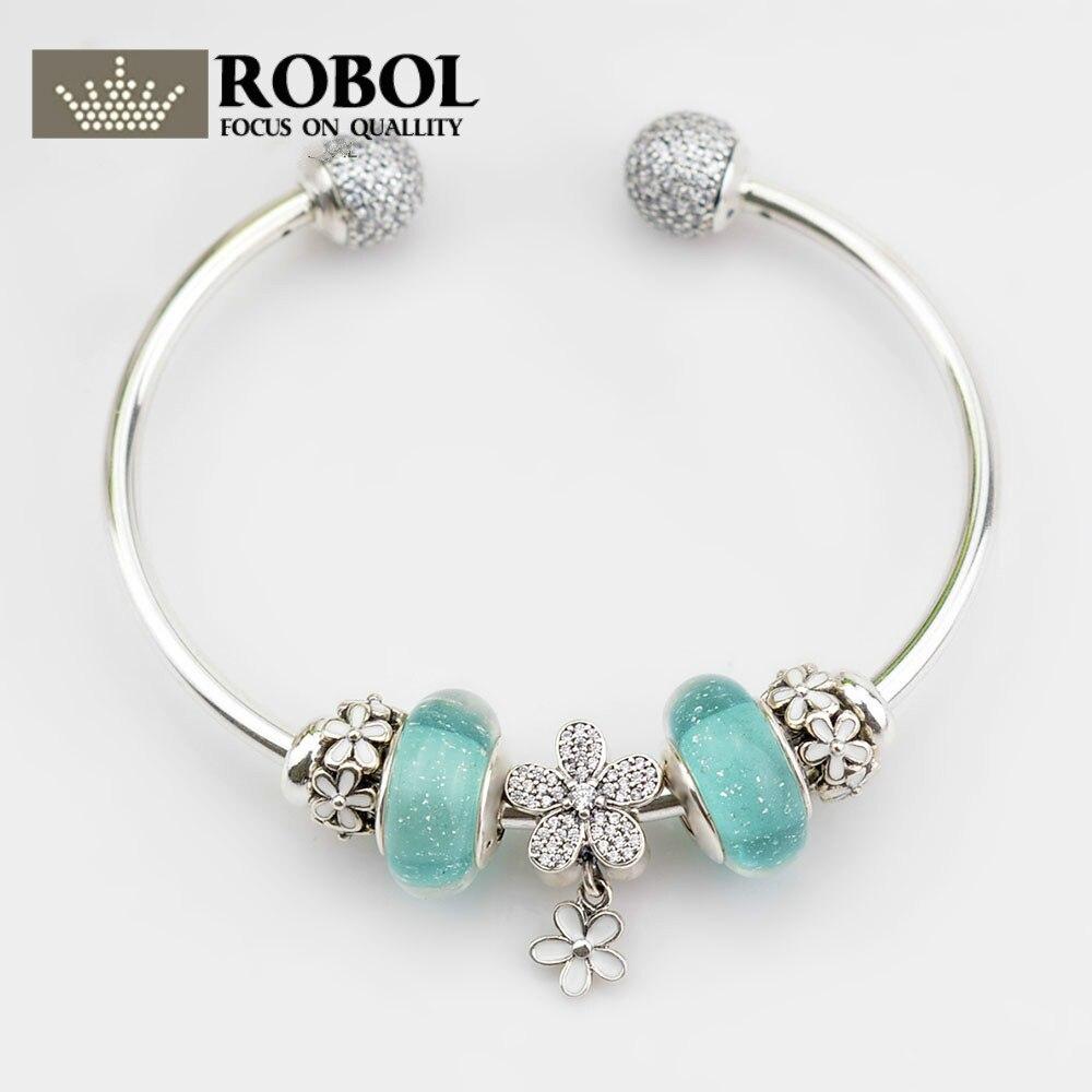 ROBOL Genuine 925 Sterling Silver Bracelet For Set Women Spring Green flower Lei birthday Gift  charm Bead Jewelry DIY bangle