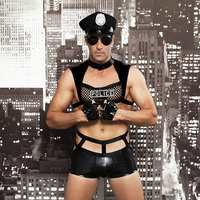 Men's temperament subdues temptation. Bar nightclub Costume Sexy lingerie. Sexy police uniform seduction.Gay Role Playing Police