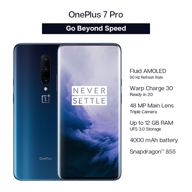 Global ROM Oneplus 7 Pro 8GB RAM 256GB ROM Smartphone Snapdragon 855 6.67 Inch 90Hz AMOLED Display Fingerprint 48MP Cameras NFC 1
