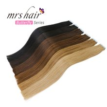 "MRSHAIR Tape In Human Hair Extensions 16"" 18"" 20"" 22"" 24"" 20pcs Non Remy Straight Brazilian Hair On Invisible Tape PU Skin Weft(China)"