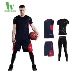 Vansydical Men Basic Cycling Tight Sportswear Long Sleeve Breathable Quick-Drying Base layer Basketball Jersey Compression Shirt