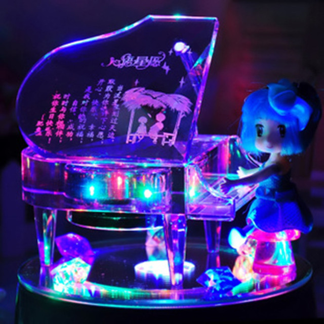 Crystal Piano Music Box To Send Girls Married Valentines Wife Girlfriends Birthday Gift Ideas Romantic Students