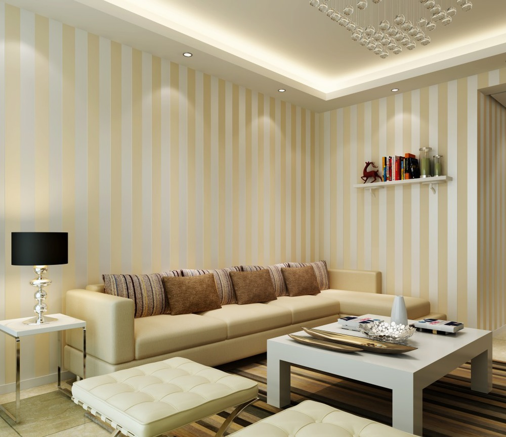 Wide stripes non woven wallpaper modern minimalist living for Wallpaper for living room modern